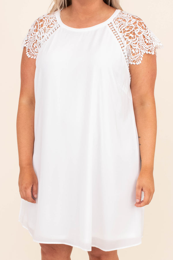 dress, short dress, lace sleeves, short sleeve, white, lace detailing