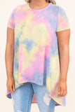 tunic, short sleeve, long back, flowy, pink, yellow, blue, tie dye, comfy, spring, summer