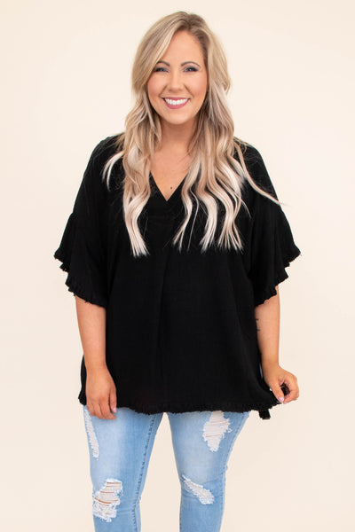 shirt, short sleeve, wide sleeves, vneck, long, fringe hems, loose, black, comfy