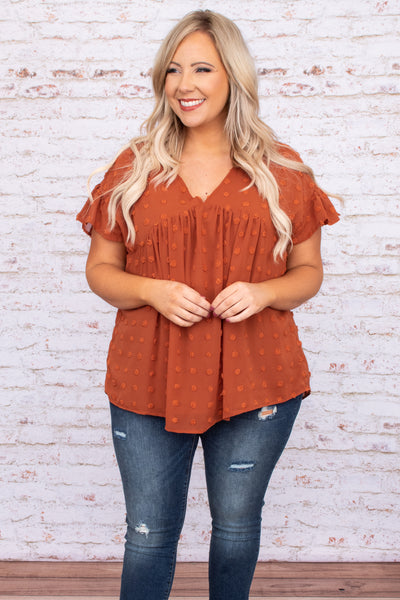 top, babydoll, top, rust, short sleeve, solid, figure flattering, textured