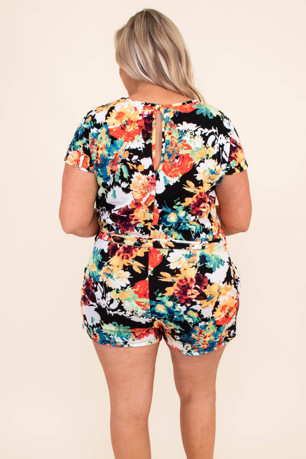 romper, floral, tie waist, black, orange, blue, green, short sleeve, comfy, spring, summer