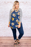 top, three quarter sleeves, striped, navy, floral, yellow, ivory