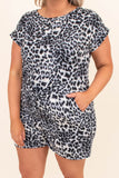 romper, short sleeve, shorts, tie waist, leopard, black, comfy