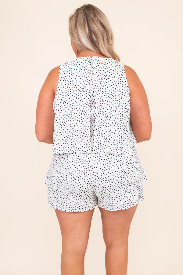 romper, shorts, tank top, sleeveless, ruffles, dotted, white, black, spring, summer, comfy