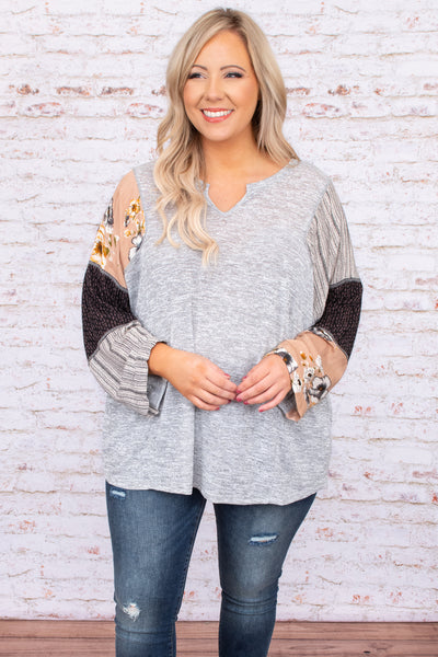top, grey, color block, floral, bell sleeve, long sleeve