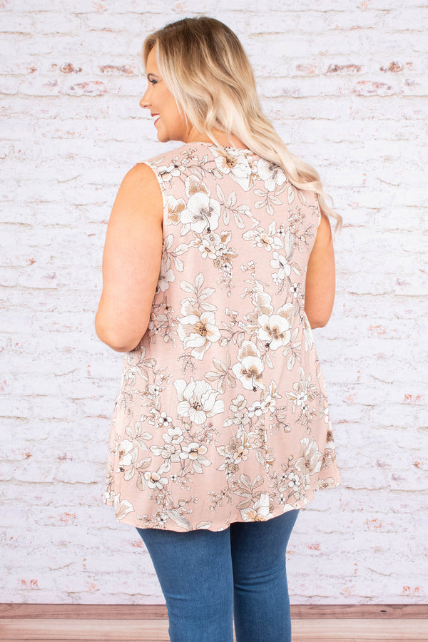 shirt, sleeveless, tie neckline, flowy, lace details, blush, floral, white, comfy, spring, summer