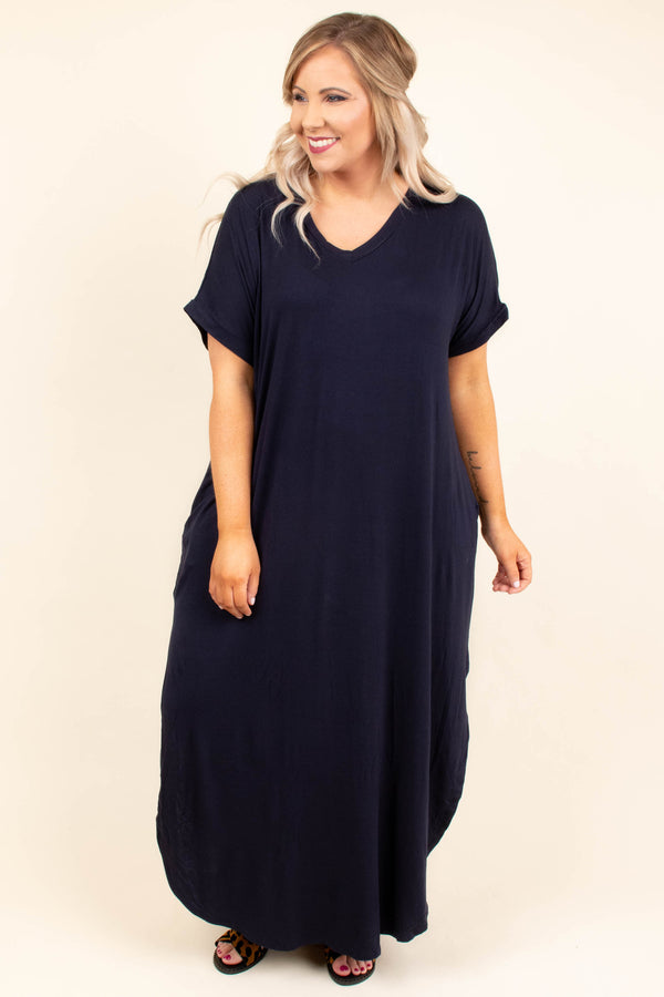 dress, maxi, short sleeve, vneck, side slits, curved hem, flowy, navy, comfy