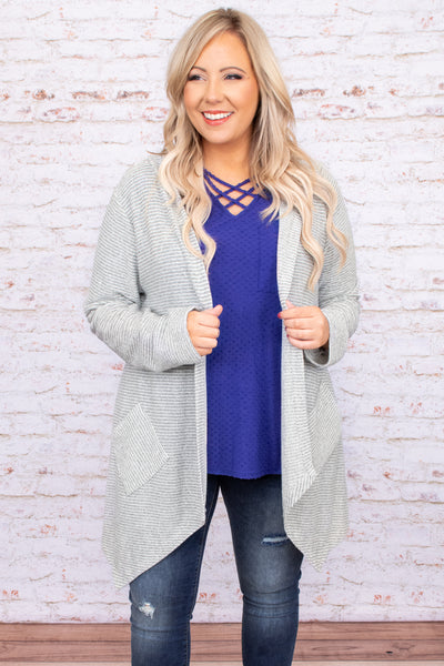 grey, cardigan, open front, long sleeve, pockets, textured, solid, neutral, flowy