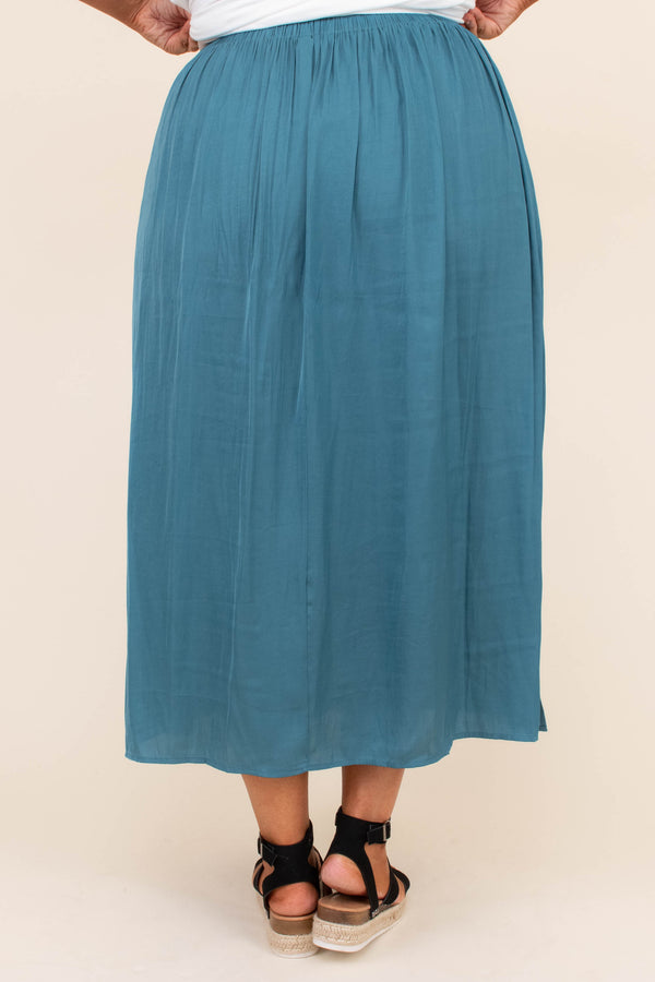 skirt, ankle length, teal, loose, comfy, spring, summer, elastic waistband