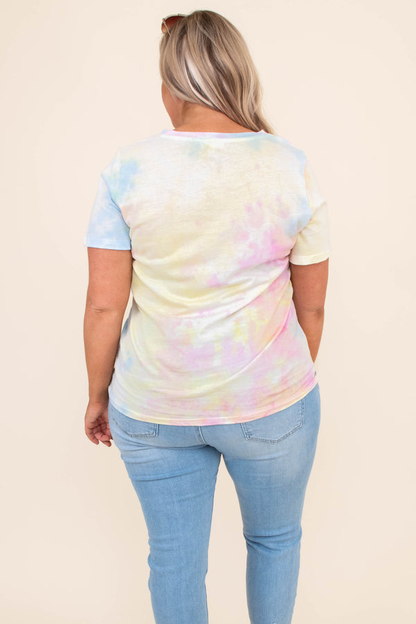 shirt, short sleeve, graphic tee, tie dye, colorful, comfy, loose, be happy