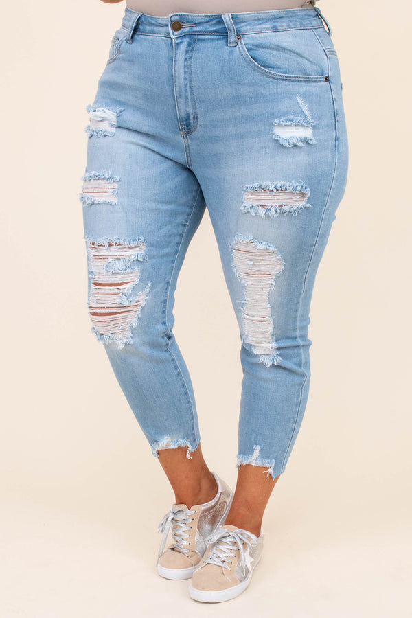 jeans, medium washed, ripped, distressed, comfy, skinny jeans, flattering, distressed hem, blue