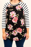 top, three quarter sleeves, striped, blush, floral, black, ivory