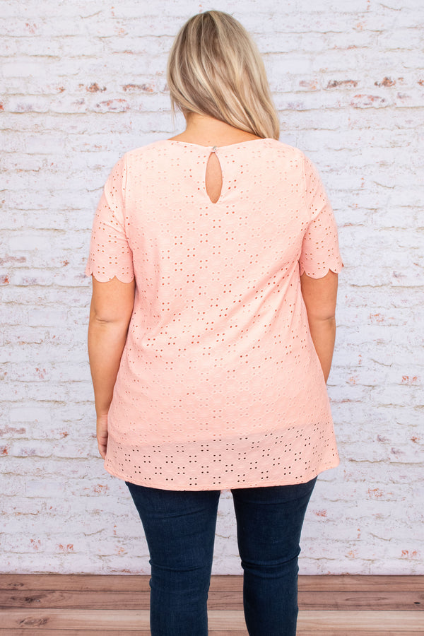 top, casual top, pink, blush, lace, short sleeve, scallops