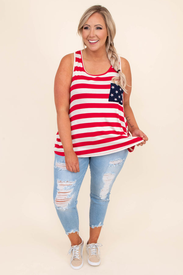 shirt, tank top, striped front, star bow on back, racer back, star chest pocket, scoop neck, red, white, blue, Americana