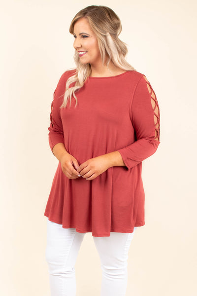 top, tunic, marsala, three quarter sleeve, flowy, open sleeve with criss cross detail