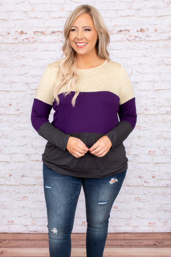 stripes, top, purple, grey, long sleeve, round neck, comfy, figure flattering, color block