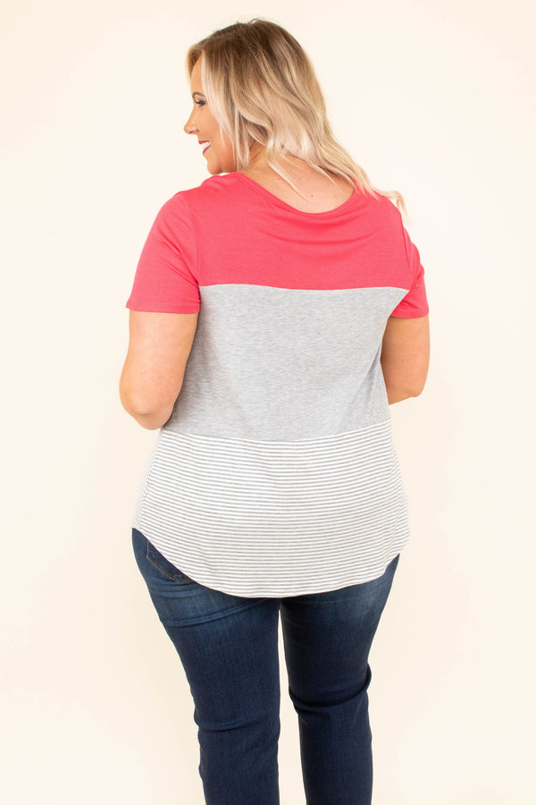 My Favorite Option Top, Coral-Heather-Grey