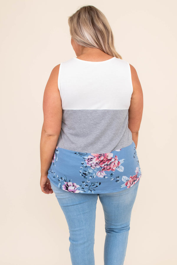 shirt, tank top, color block, solid, floral, white, gray, blue, comfy, loose, spring, summer