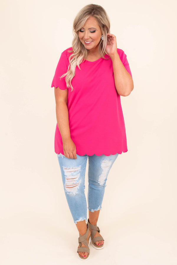 shirt, short sleeve, scalloped hem, bright, hot pink, long, scoop neck, spring, summer, comfy