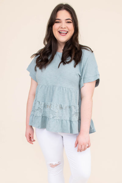 shirt, short sleeve, short, babydoll, tiered, lace insert, blue, flowy, comfy