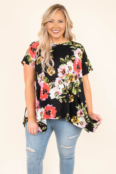 top, flowy, black, floral, red, green, white, short sleeve
