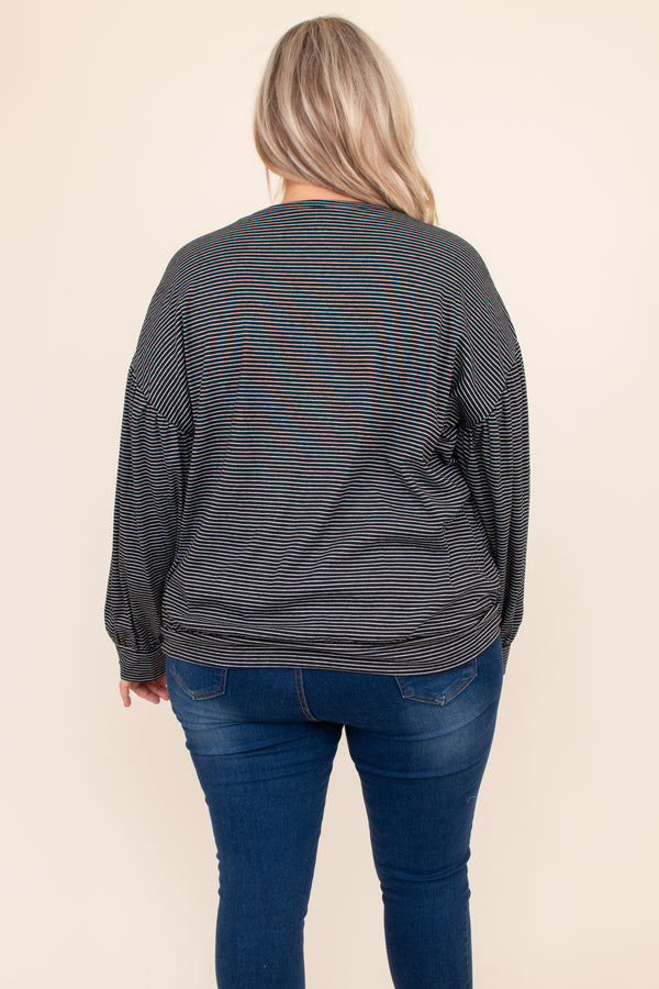 top, black, stripes, long sleeve, waist detail, comfy, flowy