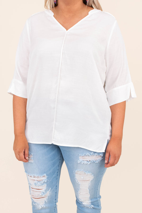 shirt, three quarter sleeve, v neck, white, center seam, comfy, loose, small side slits in sleeve, spring, summer, gathered in back