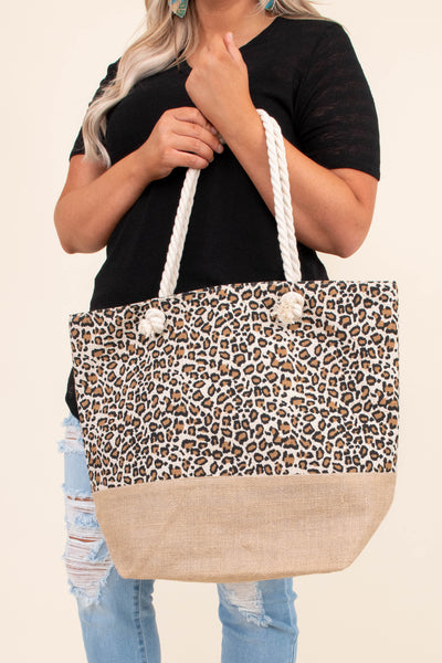 accessories, bag, tote bag, twisted white strap, leopard, brown, beach bag, summer bag, big