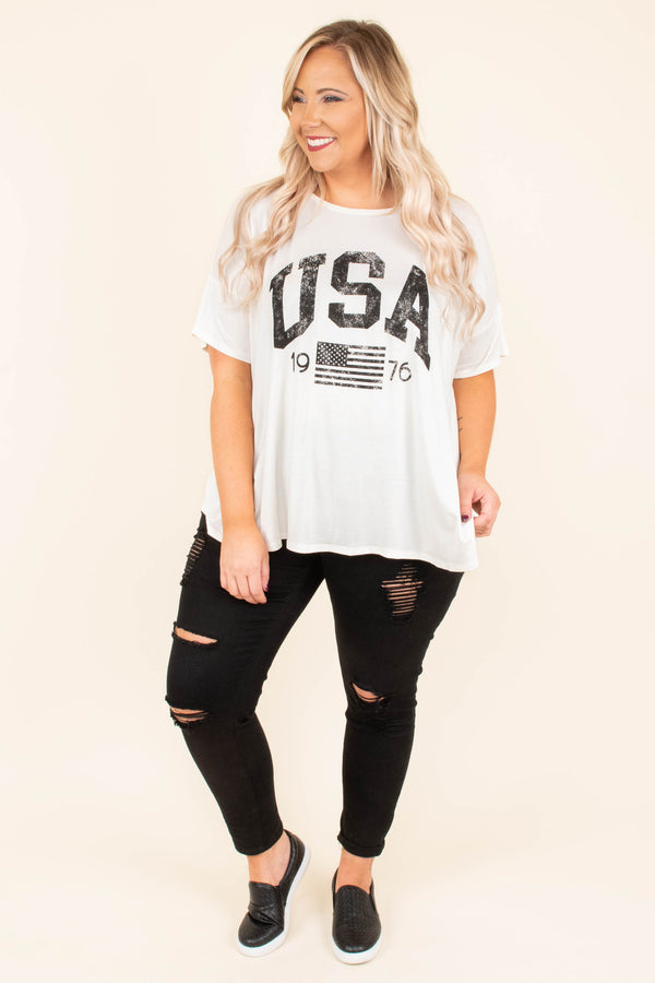 Fly Over States Tee, Ivory
