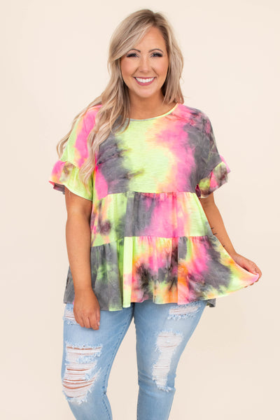 shirt, short sleeve, ruffle sleeves, tie dye, baby doll, layered bottom, multi colored, bright, yellow, pink, gray, loose, comfy
