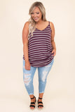 shirt, tank, spaghetti strap, v neck, stripes, eggplant, white, long, comfy, loose, curved hem