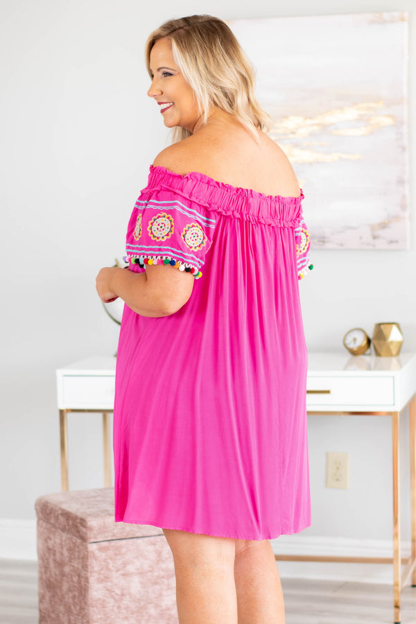 Romantic Gesture Dress, Hot Pink