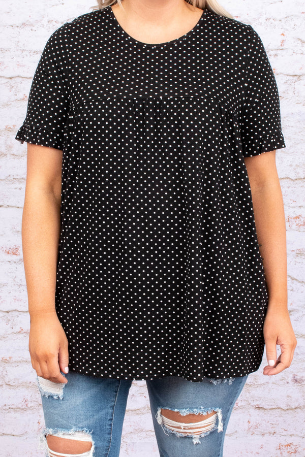 shirt, short sleeve, flowy, ruffle cuff, black, white, polka dots