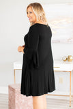 dress, short, three quarter sleeve, bell sleeves, ruffle sleeves, flowy, pockets, black, comfy