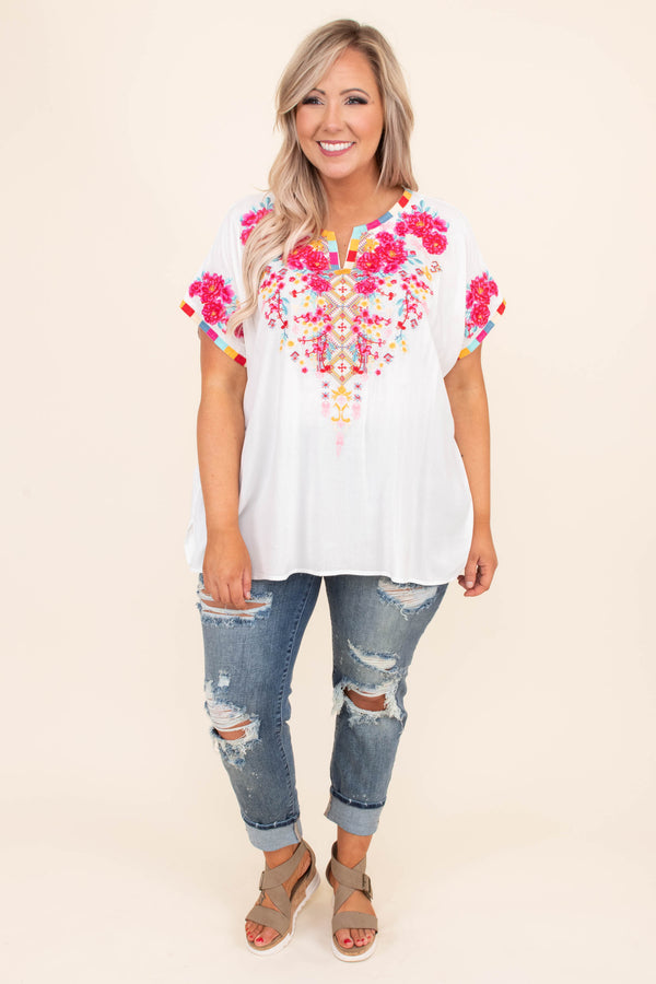 shirt, short sleeve, embroidery, floral embroidery, ivory, pink, orange, blue,  v neck, spring, summer