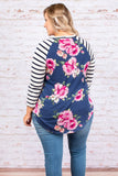 Budding Beauty Top, Ivory-Navy