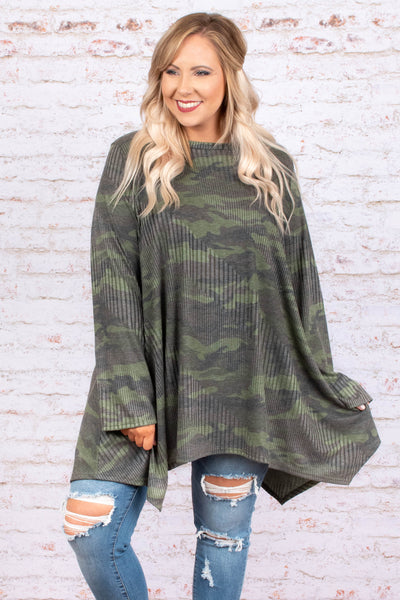 shirt, long sleeve, asymmetrical hem, flowy, olive, camo, comfy, fall, winter