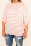 shirt, short sleeve, loose sleeves, striped, pink, light pink, white, wide neck line, loose, comfy