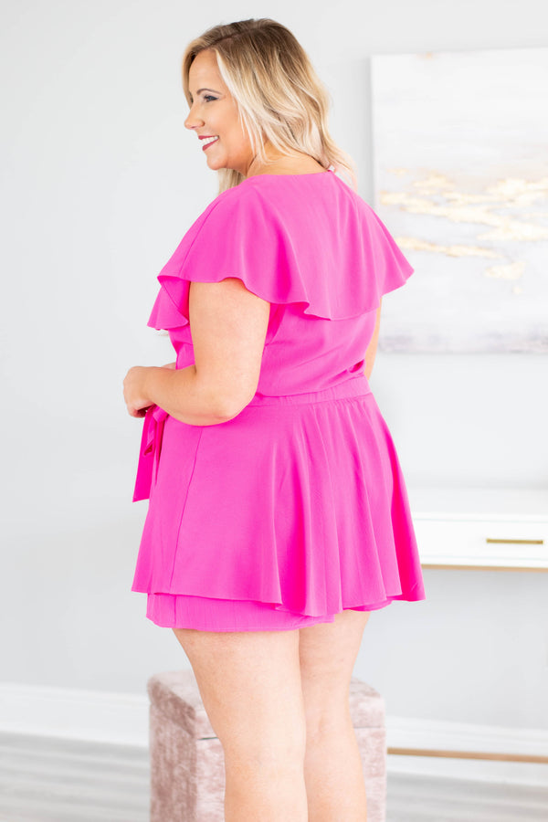 Going International Romper, Fuchsia