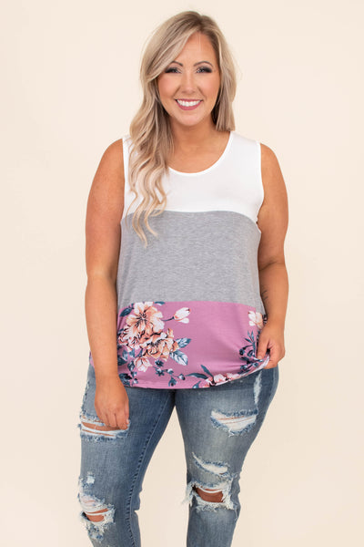shirt, sleeveless, tank top, color block, white, gray, mauve, pink, floral, solid, comfy