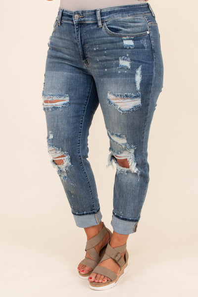 jeans, long, relaxed, blue, denim, faded, distressed, ripped