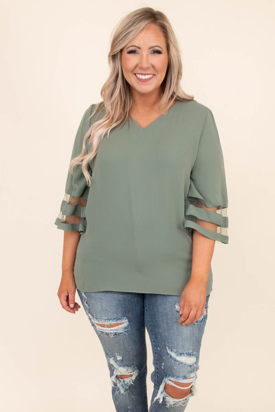 shirt, three quarter sleeve, vneck, wide sleeves, mesh sleeve stripes, loose, green, comfy