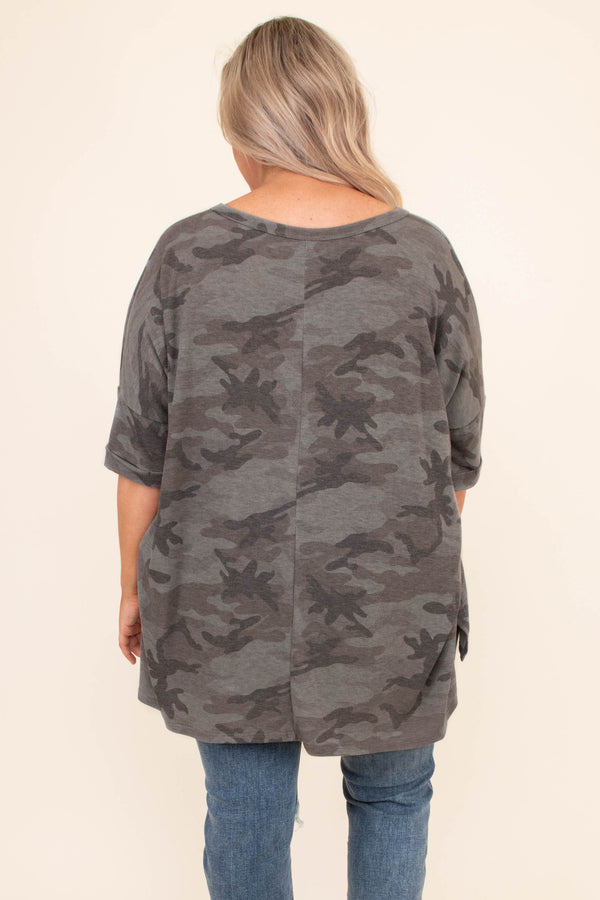 shirt, short sleeve, camo, v neck, army charcoal, gray, green, v neck, loose, long, comfy