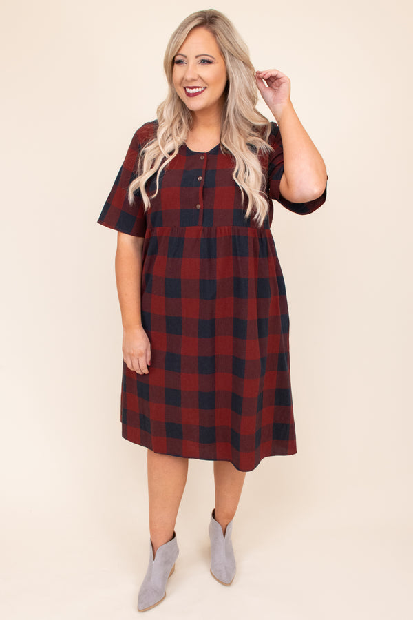 dress, plaid, buttons, short, above the knee, short sleeve, burgundy, flowy, figure flattering, babydoll