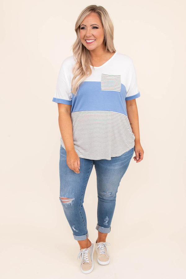 shirt, short sleeve, pocket tee, loose, comfy, color block, solid, stripe, indigo, white, black, curved hem