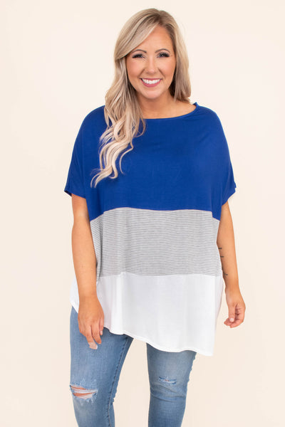 shirt, short sleeve, color block, solid, stripe, asymmetrical hemline, blue, royal blue, white, gray, loose, comfy