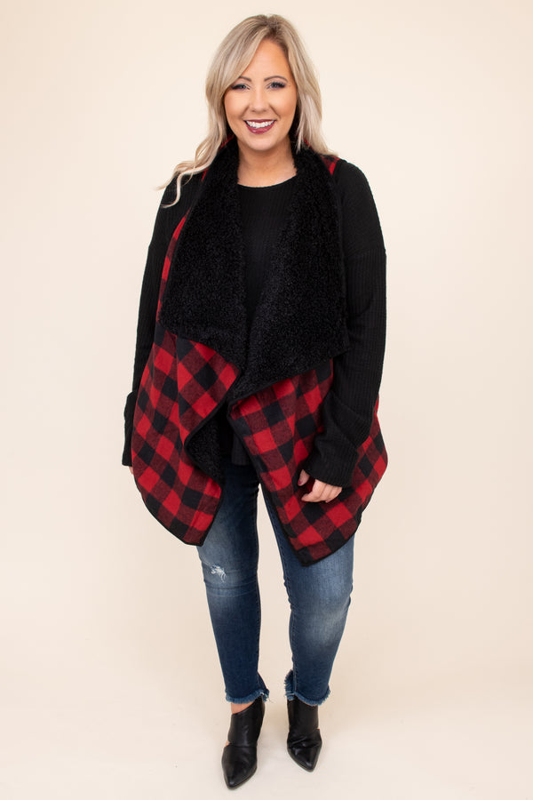 vest, black, red, comfy, pattern, open front, sleeveless. fur lining, heavy weight