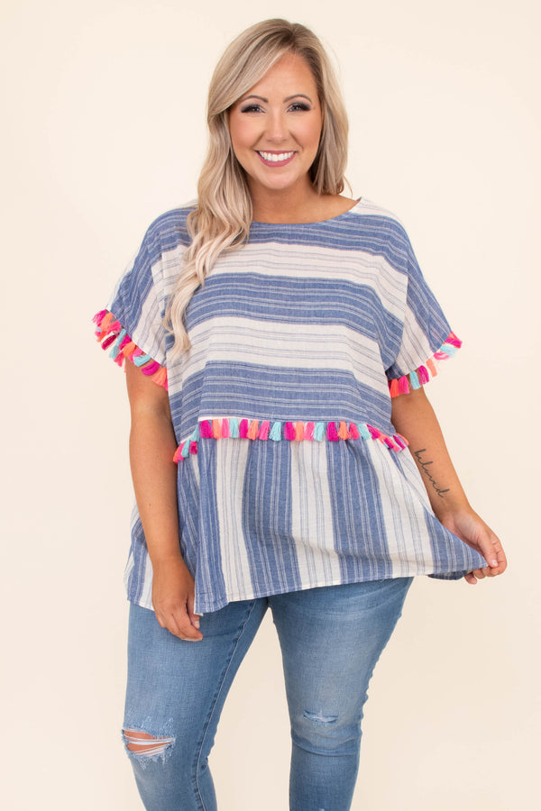 shirt, short sleeve, baby doll, striped, colorful tassels, navy, ivory, comfy, loose
