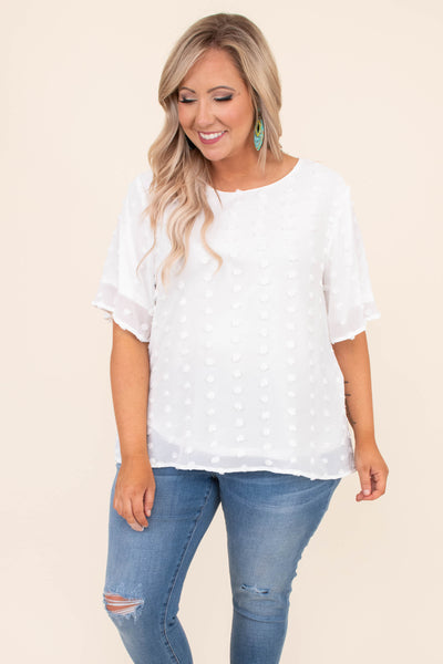 shirt, short sleeve, scoop neck, loose sleeves, summer, spring, comfy, swiss dots