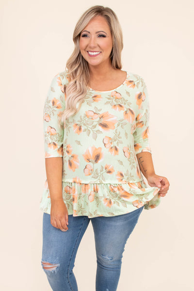 shirt, three quarter sleeve, dropped baby doll, floral, mint, peach, scoop neck, comfy
